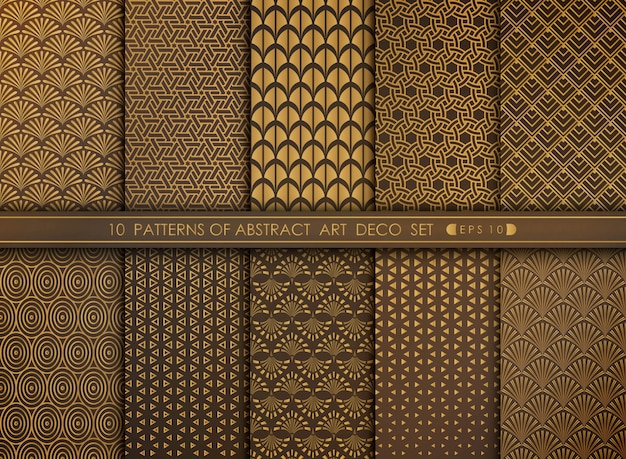 Abstract old modern style antique art deco pattern set.
