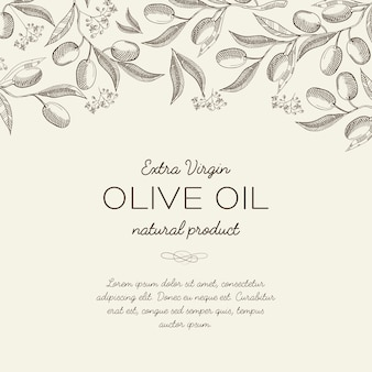 Abstract olive floral sketch template