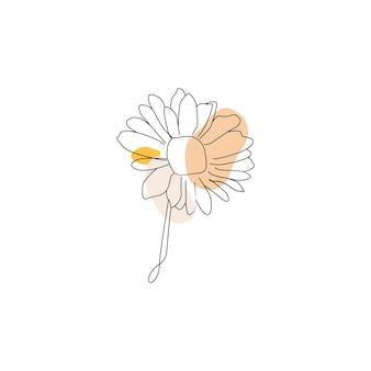 抽象的なワンラインアート熱帯の花