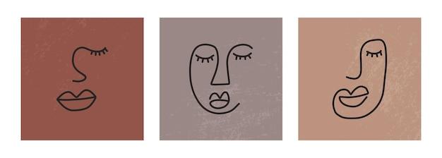 한 줄 연속 그리기 면을 추상화합니다. 미니멀리즘 예술, 미적 윤곽. 연속 라인 커플 부족 초상화입니다. 누드 배경 민족 스타일의 현대 벡터 일러스트 레이 션