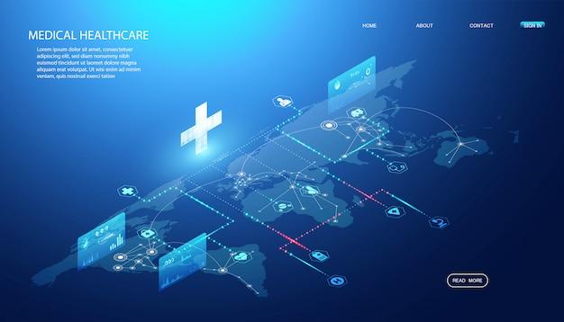 オンライン健康と医療サービスの抽象的な概念健康情報のリンク