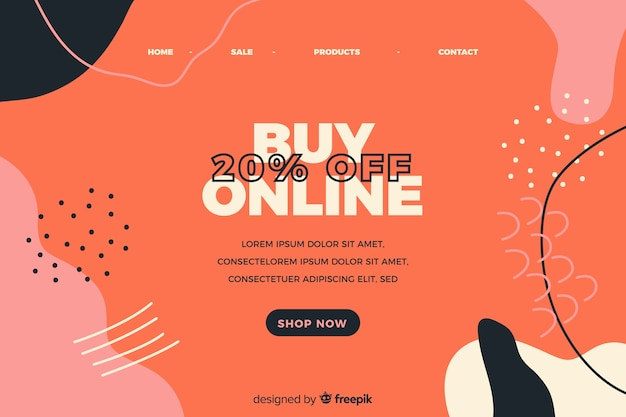 Abstract online sale landing page