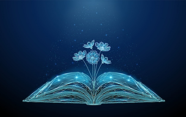 Abstract open book with growing blooming flowers.