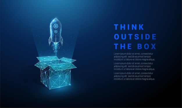 抽象的なオープンボックスとロケットの打ち上げ。箱の外で考えてください。低ポリスタイルのデザイン。幾何学的な背景。ワイヤーフレームライト接続構造。現代のコンセプト。分離。