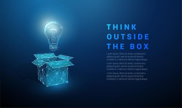 電球付きの抽象的なオープンボックス。箱の外で考えてください。低ポリスタイルのデザイン。幾何学的な背景。ワイヤーフレームライト接続構造。現代のコンセプト。孤立