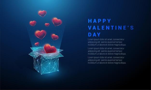 抽象的なオープンギフトボックスと空飛ぶ赤いハート。幸せなバレンタインデーカード。低ポリスタイルのデザイン。幾何学的な背景ワイヤーフレームライト接続構造現代の3dコンセプト