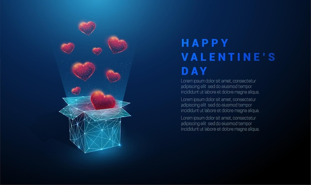 Abstract open gift box and flying red hearts. happy valentine's day card. low poly style design. geometric background wireframe light connection structure modern 3d  concept
