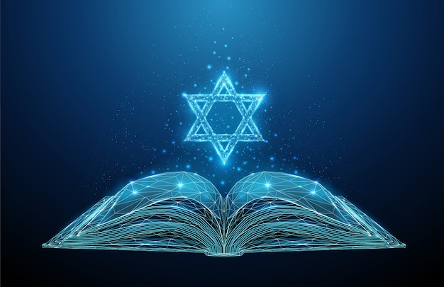 Abstract open torah book with star of david