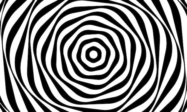 抽象的な目の錯覚の背景ベクトルデザイン。サイケデリックスな縞模様の黒と白の背景。催眠パターン。