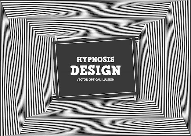 Абстрактная оптическая иллюзия. черно-белый полосатый баннер