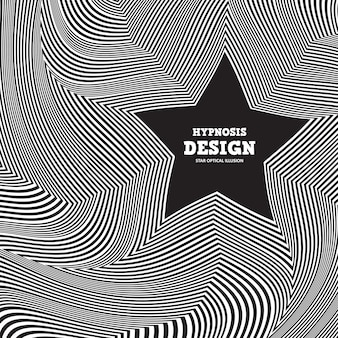 Abstract optical illusion. twisted black-white striped background