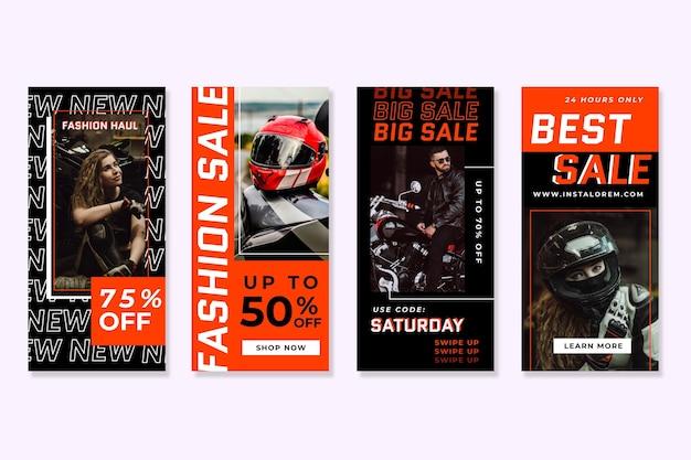 Storie astratte di vendita del instagram di colori dell'acido arancio
