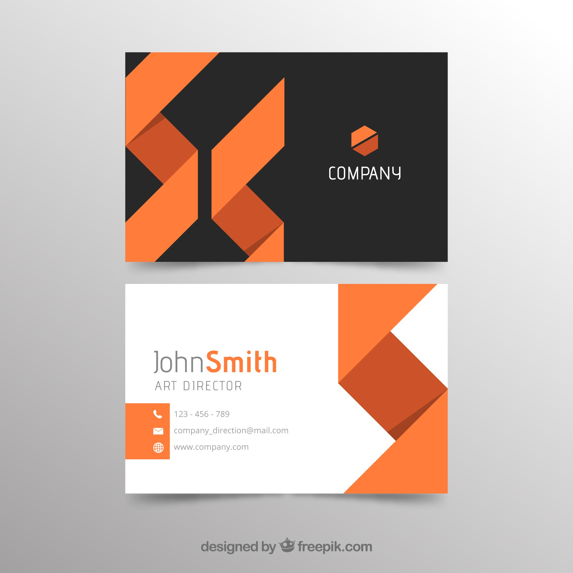 Abstract orange and black business card template