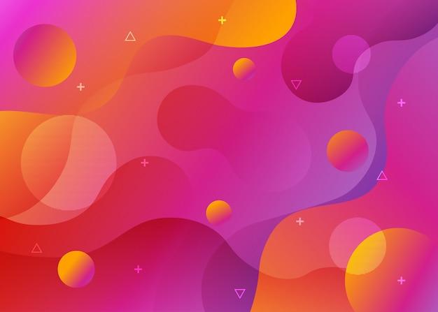 抽象的なオレンジと紫のグラデーションフロー図形背景。
