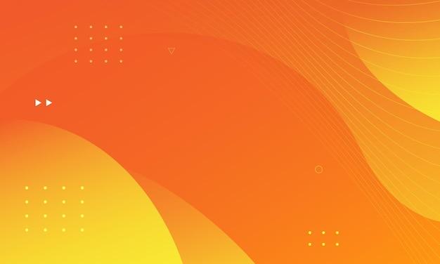 추상 오렌지와 노란색 유체 모양 현대 배경