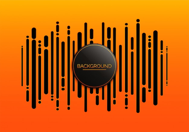 Абстрактный оранжевый фон с концепцией звуковой волны. и музыкальный цифровой эквалайзер.