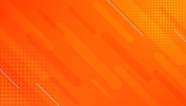 선 및 하프 톤 효과와 추상 오렌지 배경