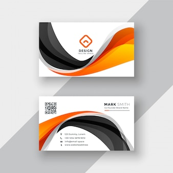 Abstract orange and black wave business card template