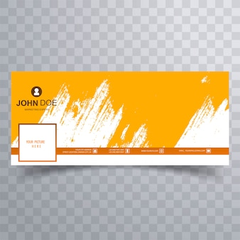 Abstract orange brush facebook cover design