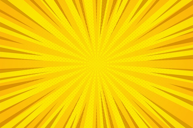 추상 오렌지 만화 만화 스타일 하프 톤 줌 패턴입니다.