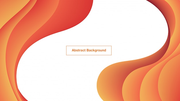 Abstract orange fluid curves background