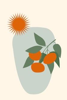 Абстрактная оранжевая ветка фруктового дерева и солнце в минималистском стиле бохо