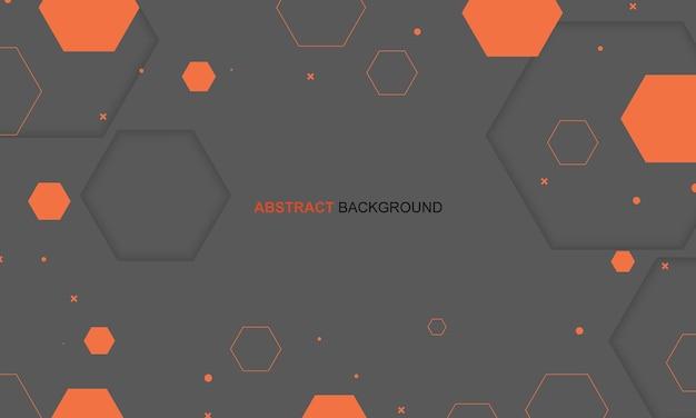 抽象的なオレンジ色の幾何学的な六角形の背景。ベクトルイラスト。
