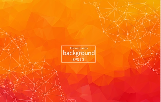 Abstract orange geometric polygonal background molecule and communication.