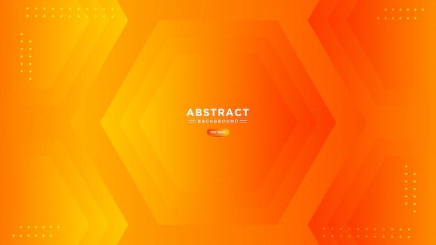 抽象橙色渐变背景。时尚简约的多边形造型