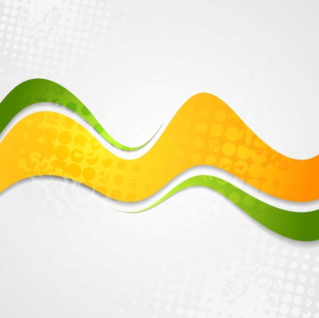 Абстрактный оранжевый зеленый фон гранж волны. векторный креативный дизайн