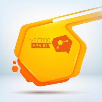 白で編集可能なテキストと抽象的なオレンジ色の六角形