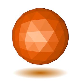 Абстрактная оранжевая низкополигональная сфера из треугольных граней с тенью на белом
