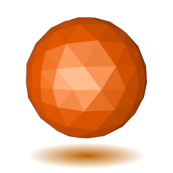 Abstract orange low polygonal sphere made of triangular faces with shadow on white