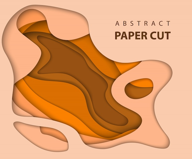 Abstract orange paper cut background