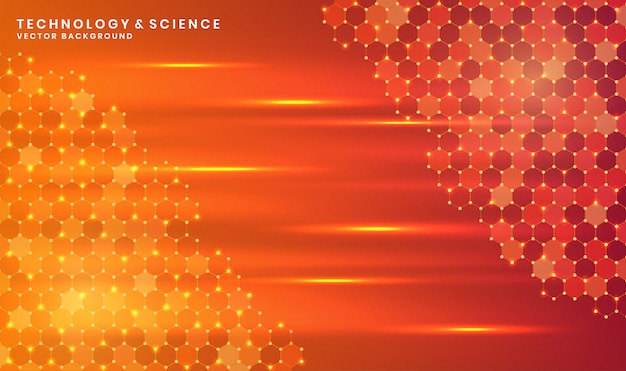 Abstract orange technology or science background with hexagon