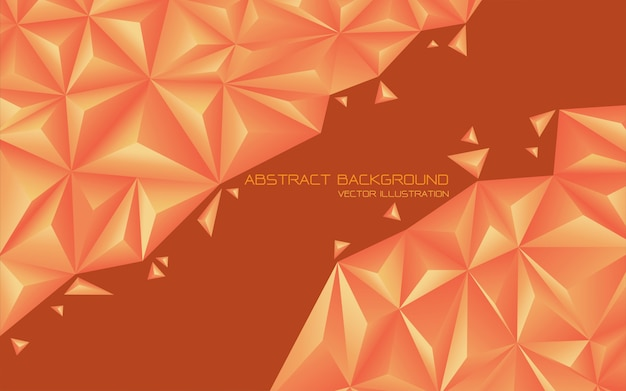 Abstract orange tone triangle 3d futuristic background.