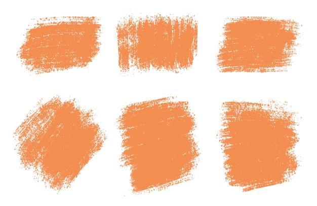 抽象的なオレンジ色の水彩絵筆ブラシストロークセット