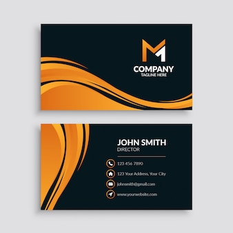 Abstract orange wave business card template