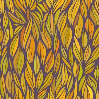 秋の色の抽象的なオレンジ色の波状パターンベクトルシームレスパターン