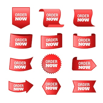 Abstract order now stickers set