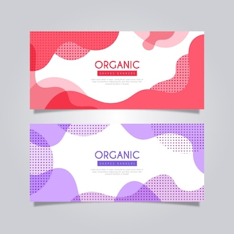 Abstract organic dynamic shapes banners