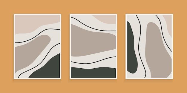 抽象的な有機手巻きミニマリストの形の背景パステルカラーの植物の壁アートベクトル