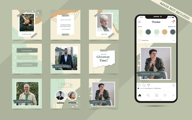 인스타그램 패션 판매 배너 프로모션 템플릿의 소셜 미디어 회전 목마 포스트 세트에 대한 추상 유기 모양 배경