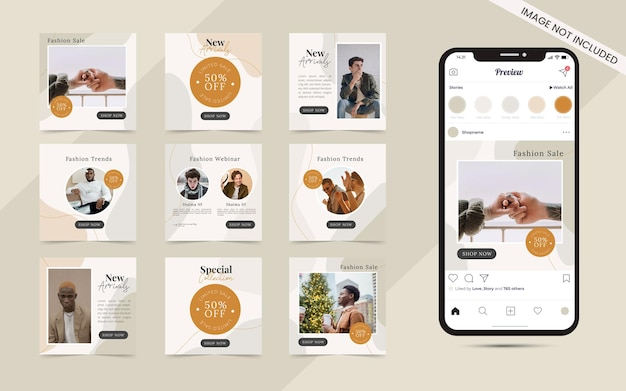Abstract organic shape background for seeamless social media carousel post set of instagram fashion sale banner promotion