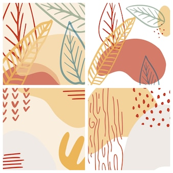 Abstract organic shape and hand draw line background set in pastel colors. modern collage for posters, social media stories. vector illustration in trendy style abstract design with space for text.