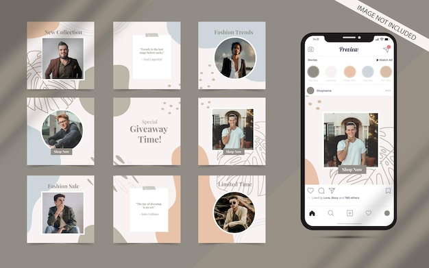 Abstract organic shape   for social media post banner set of instagram fashion sale promotion