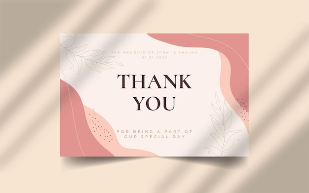 Abstract organic shape with editable text thank you wedding card template