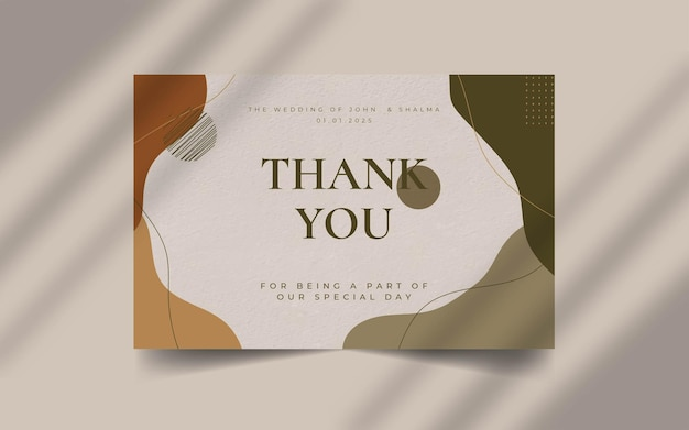 Abstract organic shape with editable text wedding thank you  card template