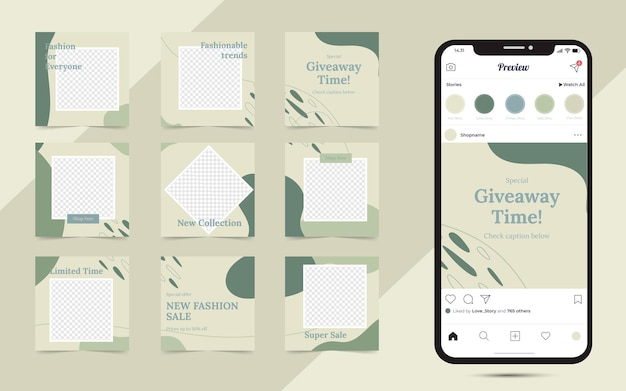 Abstract organic shapes background for social media and instagram with grid puzzle post template