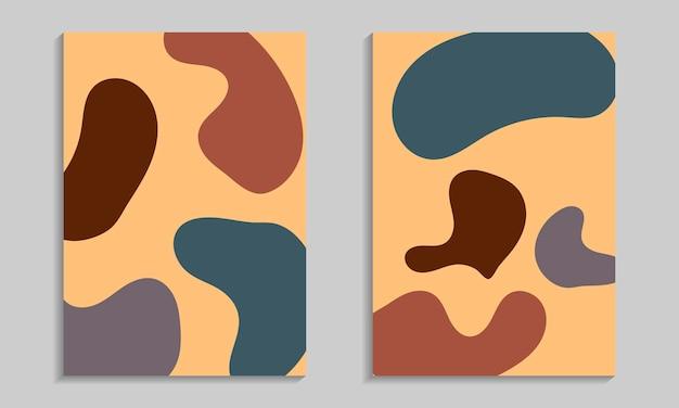 抽象的な有機的な形のポスターセット。波状の要素を持つチラシテンプレート。
